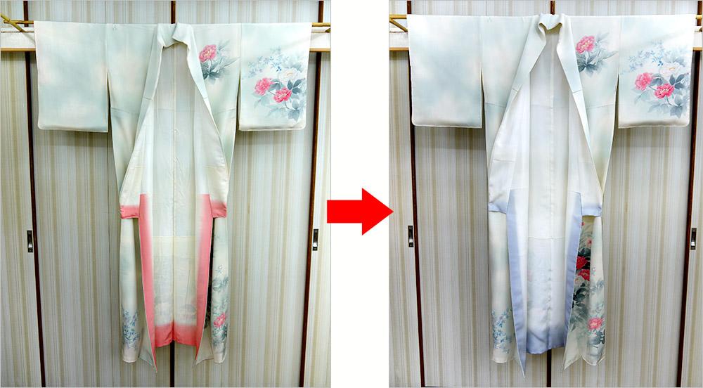 神奈川県 H様 付下のみかど洗い、八掛の取り替え