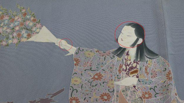 「加賀友禅の初代由水十久氏の訪問着、お正月に着ようと思ったら童の顔にしみがありきれいにしてください」のご依頼。(貴重な作品ですので注意してしますね)